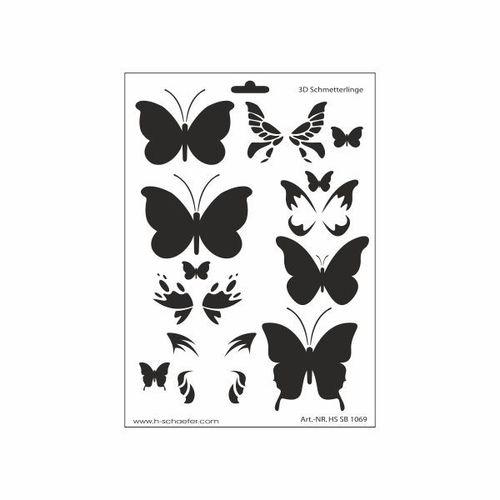 Schablone DIN A4 - 3D Schmetterlinge - Ina Schäfer Online-Shop