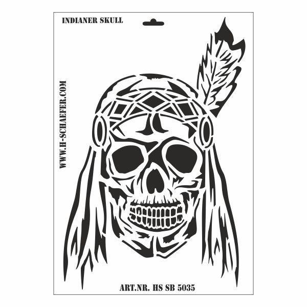 Schablone DIN A3 - Indianer Skull - Ina Schäfer Online-Shop