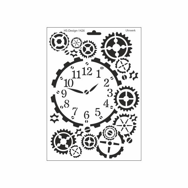 Schablone DIN A4 - Uhrwerk - Ina Schäfer Online-Shop