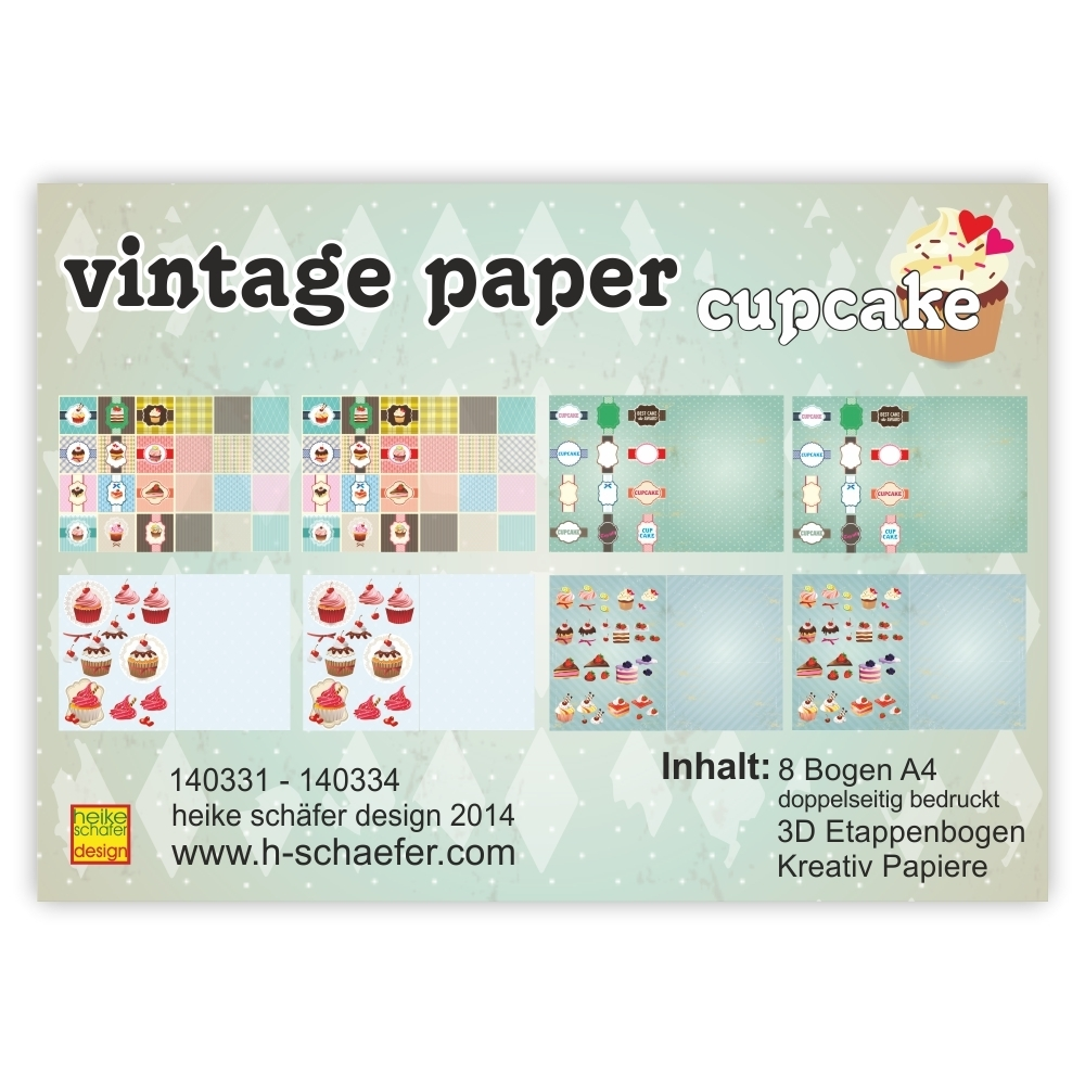 Exclusive Vintage Papiere - Collection vintage paper cupcake 2 - 8 Bogen/DIN A4