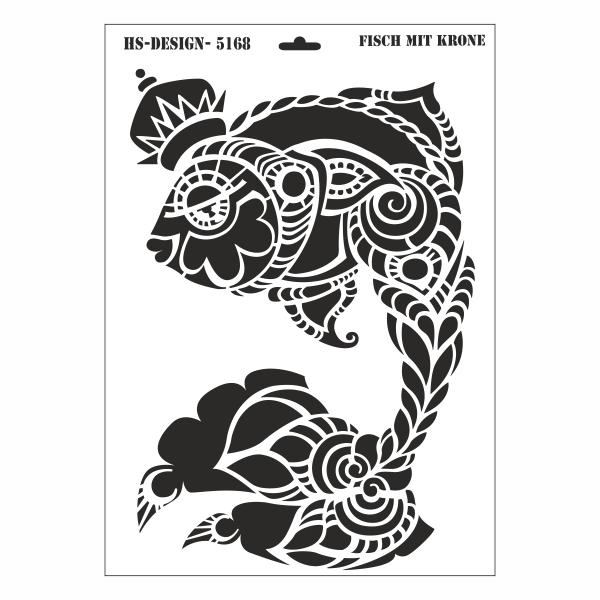 schablone din a3  fisch mit krone  ina schäfer onlineshop