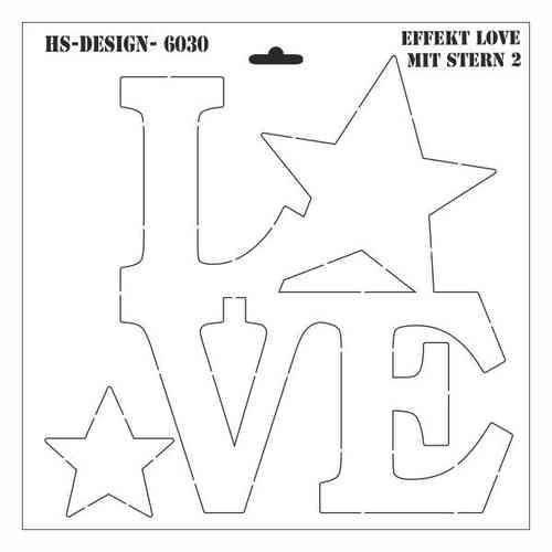 Schablone DIN A3 - Effekt Love mit Stern 2 - Ina Schäfer Online-Shop