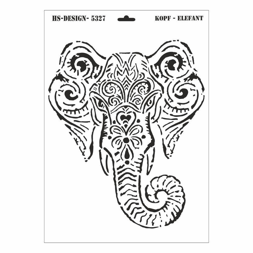 Schablone DIN A3 - Elefant Kopf - Ina Schäfer Online-Shop