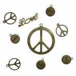 Schmuck-Design Set Antikbronze - Peace/Love - 9teilig